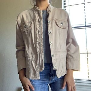Solid button down military jacket
